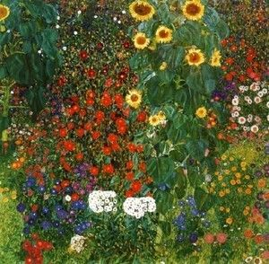 Cottage Garden with Sunflowers  Gustav Klimt