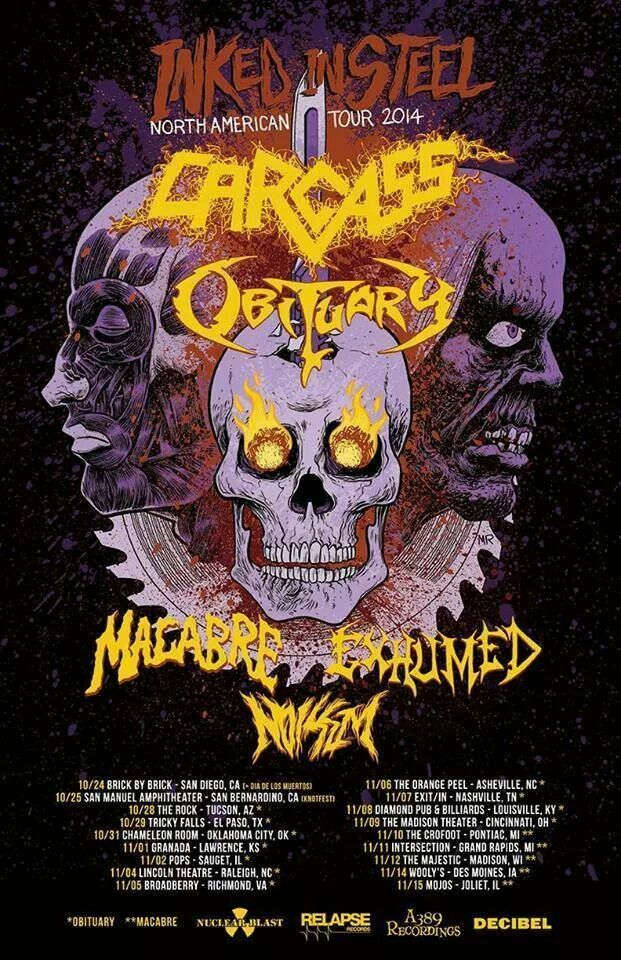 Wow! Carcass, Obituary band, Macabre, Exhumed and Noisem announce North American tour!