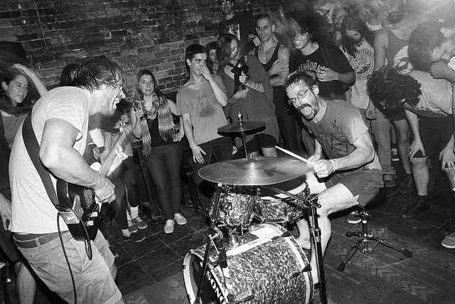 """Pneu live @ Bar l'Absynthe, Montréal, 03/09/2012. Black and white film photography by François Carl Duguay. order a 16"""" x 20"""" silverprint over at  www.laligneaharde.com """"$40"""""""