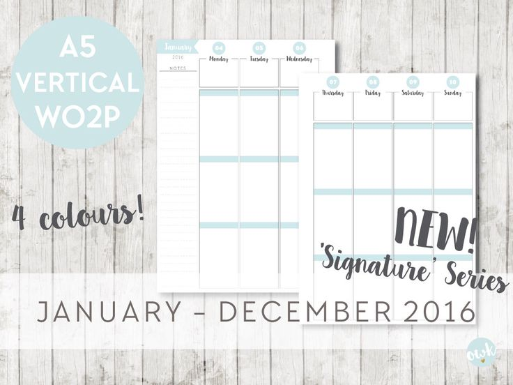 A5 Inserts 2016 Signature VERTICAL WEEK on 2 Pages - Filofax Calendar Printable Planner Pages - INSTANTDOWNLOAD by OrganiseWithKatie on Etsy https://www.etsy.com/listing/248736181/a5-inserts-2016-signature-vertical-week
