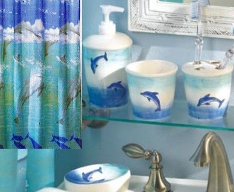 New 6 Pc Dolphin Bathroom Accessories Set Includes Fabric