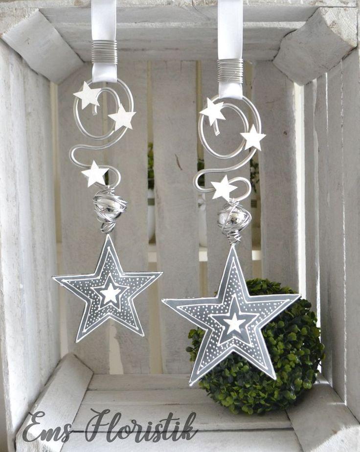 Fensterdeko Stern Metall grau-weiß 15,5 cm Landh…