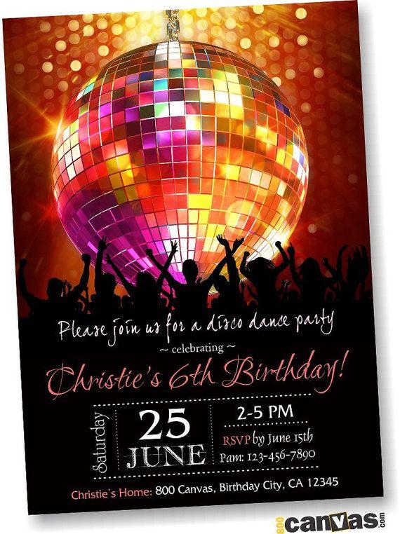 Disco Ball Birthday Party Invitation, Disco Dance Party ...