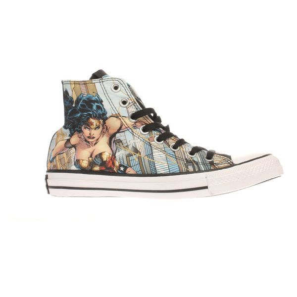 Womens Pale Blue Converse All Star Wonder Woman Hi Trainers ($58) ❤ liked on Polyvore featuring shoes, sneakers, star sneakers, converse trainers, converse sneakers, converse footwear and converse shoes