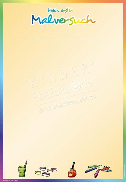 """Kindergarten Portfolio Vorlage """"Mein erster Malversuch"""""""