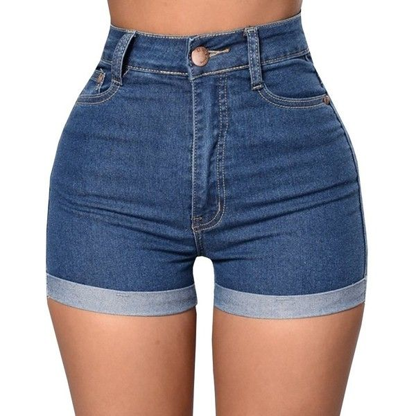 Baifern Women's High Waist Stretch Denim Shorts ($8.98) ❤ liked on Polyvore featuring shorts, high rise shorts, high waisted shorts, high-waisted shorts, high-rise shorts and highwaist shorts