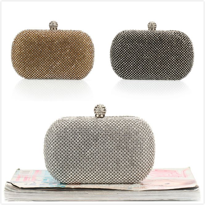Luxury Diamond Evening Bags Classic Rhinestone Day Clutch For Lady  Recommend for Everyone Gold/Silver/Black Crystal Bag NO1227