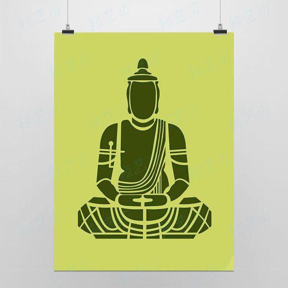 Light Art Drawings Meditation Green Modern Minimalist by Qingyishu, $5.50