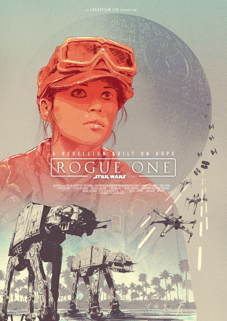 """""""Rogue One A Star Wars Story"""" print by guest artist Adam Cockerton for the Poster Posse's 5-day tribute"""