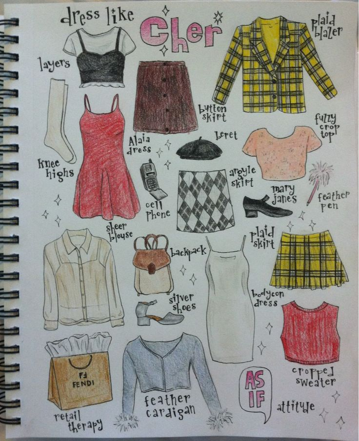 ριntєrєѕт: bronzed_goddess | Cher Horowitz of Clueless inspired wardrobe illustration I just finished