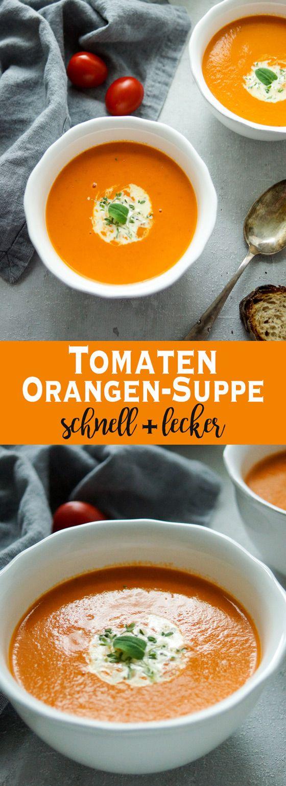 Eine Tomaten-Orangen-Suppe ist genau das Richtige für kalte Tage. Die Suppe erfrischt und ist ein leichtes Essen, das aber auch an warmen Tagen gegessen werden kann. Für die Tomaten-Orangen-Suppe brauch Ihr wenige Zutaten: ein bißchen Zwiebel, Bio-Tomaten in kleinen Stücken, frischer Thymian, frisch gepressten Orangensaft und etwas Sahne zum Anreichern. Damit könnt Ihr in weniger als 30 Minuten eine leckere und aromatische Suppe zaubern. Einfache Gesunde Rezepte - Elle Republic