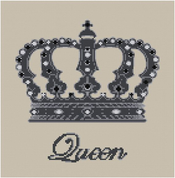 QUEEN  cross stitch by anetteeriksson on Etsy, $7.50