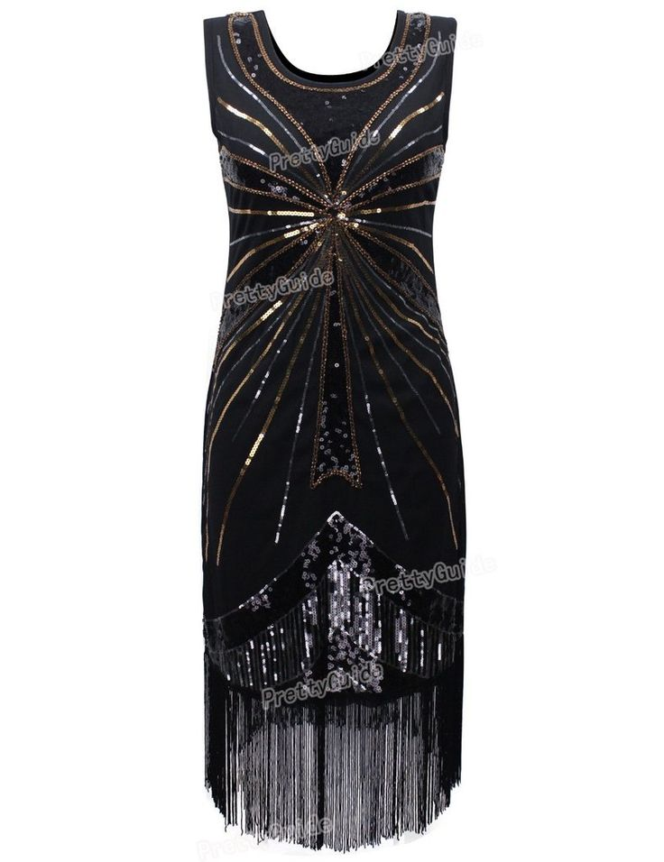 PrettyGuide Women 1920s Vintage Beads Sequin Fireworks Fringe Flapper Dress Cocktail Dress Roaring 20s Great Gatsby Dress - Alternative Measures -