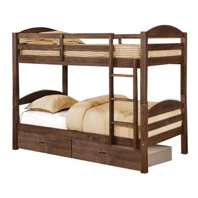 Viv + Rae Ralph Twin Bunk Bed with Drawers Finish: Chestnut