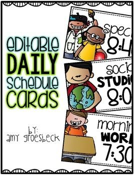 Help students monitor their daily activities and agenda using this daily schedule chart. Each card is editable and allows you to enter your own text to make your schedule chart completely customized to your classroom!   **UPDATED**  16 additional schedule card templates have been added.