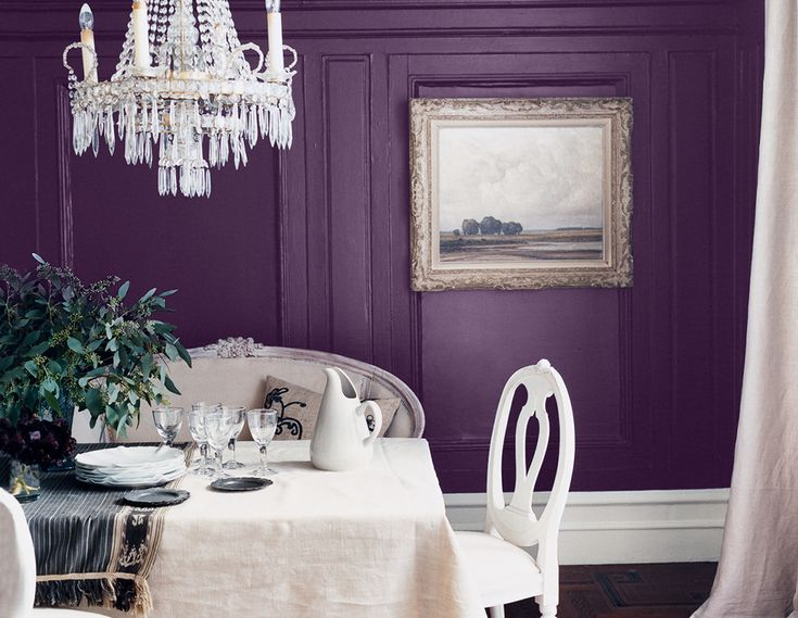 "deep purple and cream This regal hue can easily overwhelm a room, but when it works, it's both rich and livable.   Paint color (walling and paneling): ""Early Morning Mist #1528"" by Benjamin Moore   Paint color (paneling): ""Embassy Purple #TH59"" by Ralph Lauren Homes Paint color (molding): ""Soft Chamois #OC-13"" by Benjamin Moore"