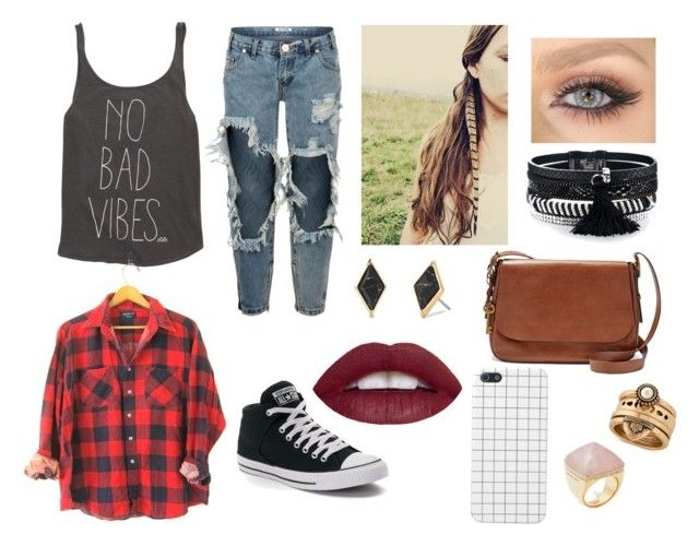 """""""No Bad Vibes"""" by taylapawlak on Polyvore featuring Billabong, One Teaspoon, Converse, FOSSIL, Stella & Dot, Lucky Brand and Michael Kors"""