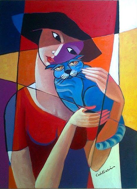 Rita Cavallari blue cat and lady