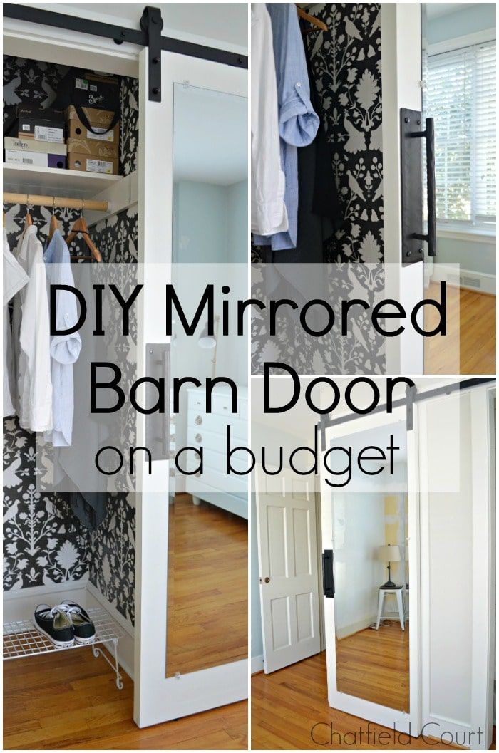 Diy Barn Door With Mirror Chatfield Court Diy Closet Doors Cheap Barn Doors Diy Barn Door Cheap