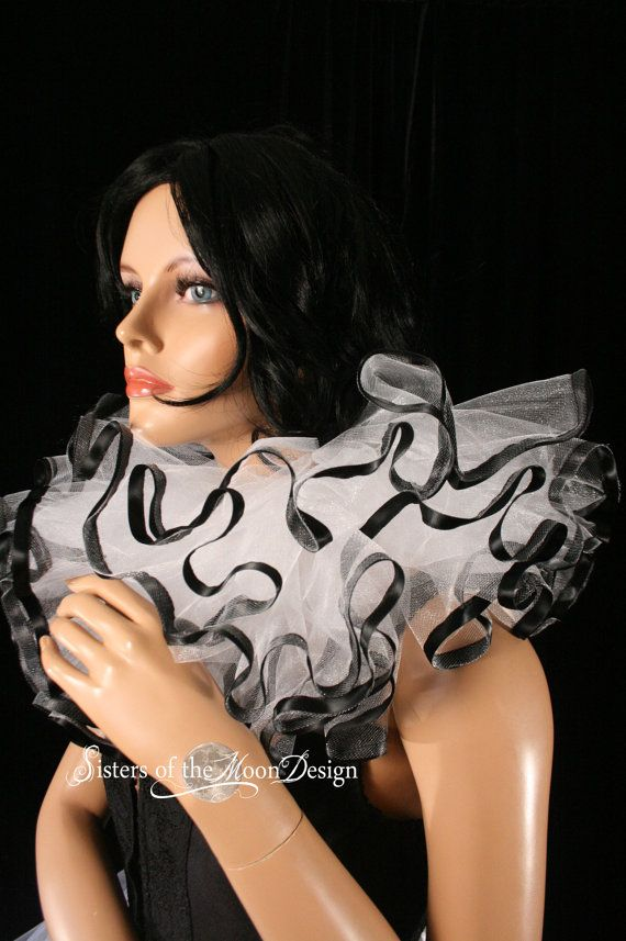 Three layer tulle collar neck cuff clown white by SistersEnchanted, $45.00