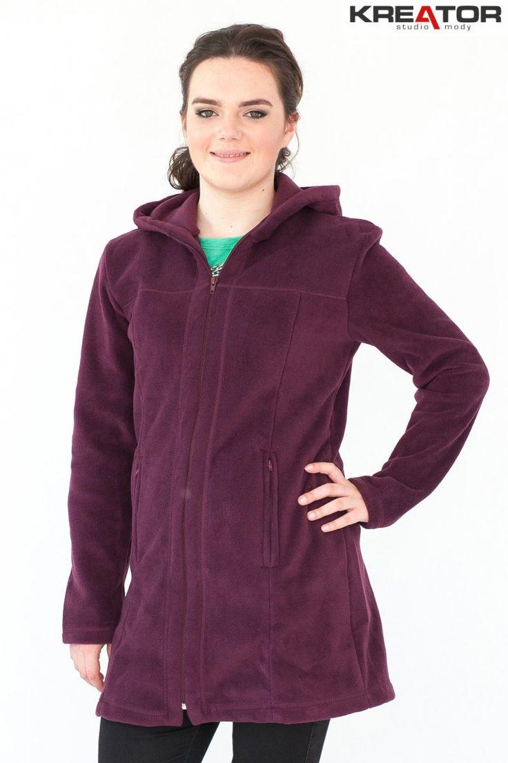 Płaszcz polarowy z kapturem, Kreator Studio Mody, r. 42-44 L - Rozmiar 42-44 L - Płaszcze polarowe