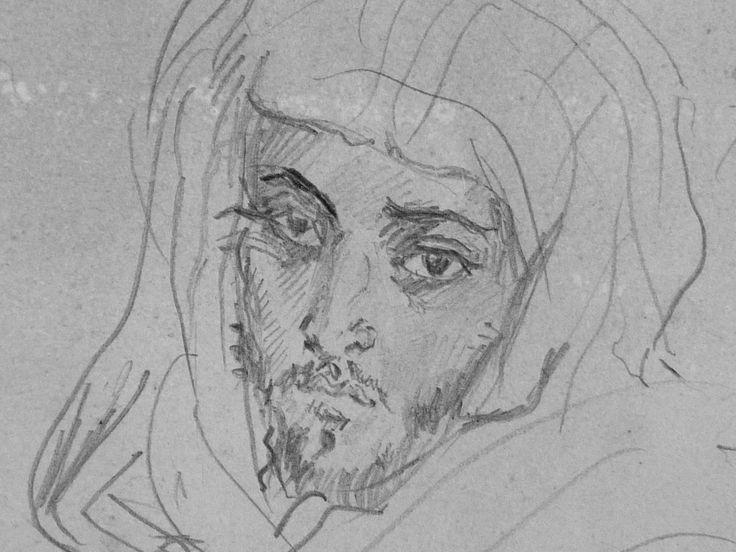 CHASSERIAU Théodore,1846 - Deux Arabes assis - drawing - Détail 08 - Dignité triste - Sad dignity -