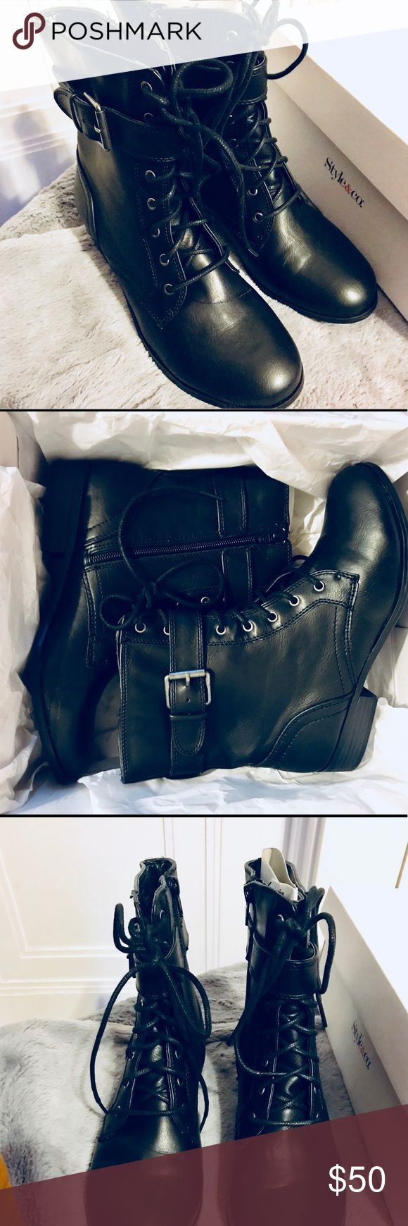 NWT Black Combat Boots Style & co. PERFECT for fall and winter! brand new and never worn, still in original packaging. Style & Co Shoes Combat & Moto Boots
