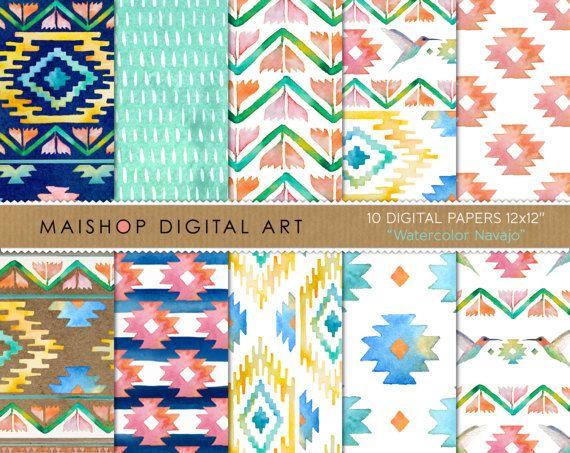Seamless Digital Paper 'Watercolor Navajo' by MaishopDigitalArt