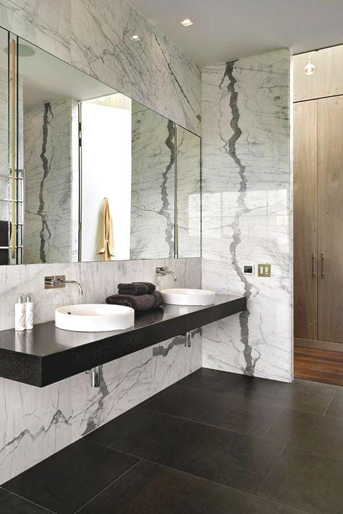 Marble wall, modern bathroom vanity