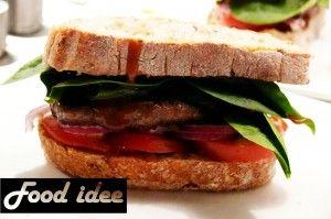 Gezonde hamburger met spinazie