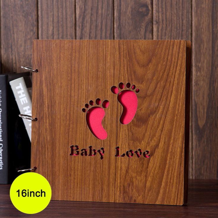 Retro Wood Inlay Scrapbook Journal Baby Record Diary Photo Wooden Covered Book