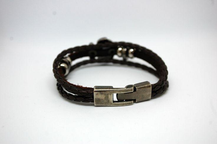 Кожаный браслет со вставкой Якорь