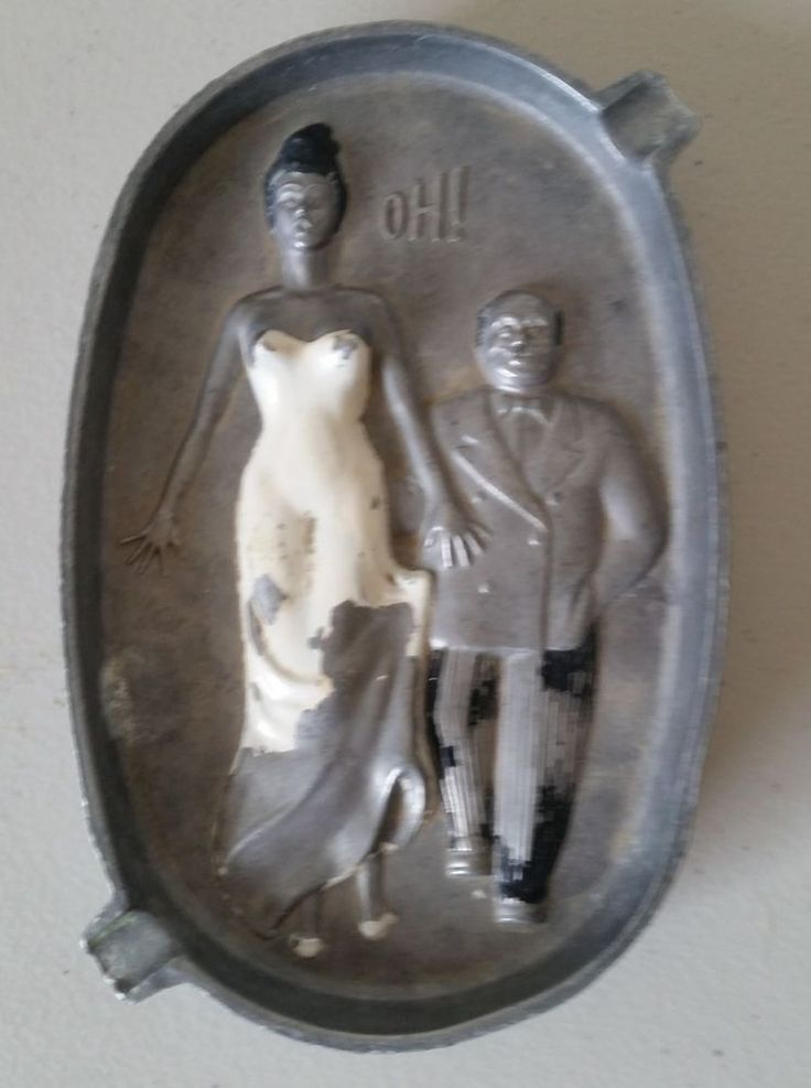 Vintage 1940 S 50 S Cast Aluminum Two Sided Couple Naughty