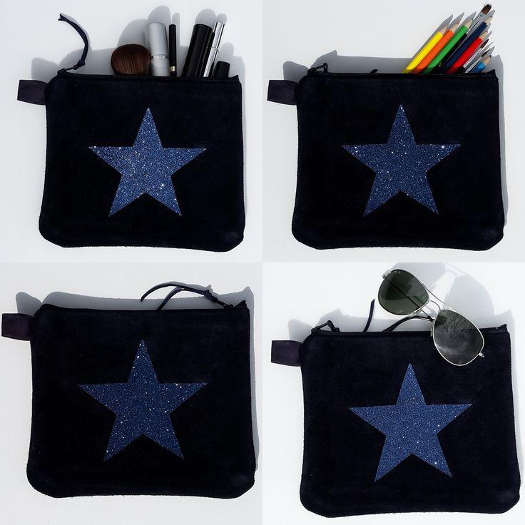 trousse en cuir véritable bleue marine et étoile à paillettes ...