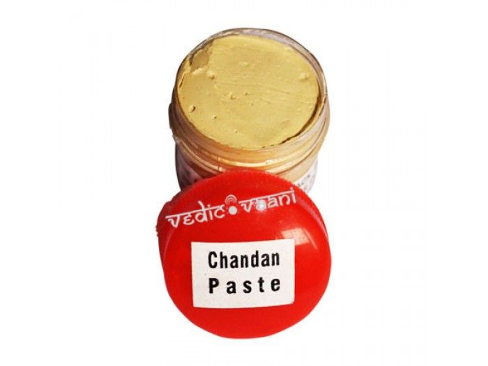 Sandalwood paste is integral to rituals and ceremonies, which is used as puja items, pooja essentials to mark religious utensils and to decorate the icons of the deities. http://vedicvaani.com/index.php?_route_=Chandan-Tilak-Paste .It is also distributed to devotees, who apply it to the forehead or the neck and chest.