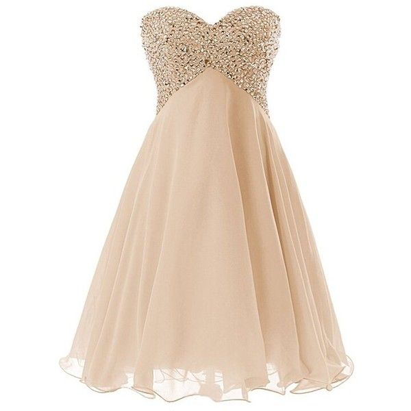 QUEENSROYAL Chiffon Short Sparkling Cocktail Homecoming Dresses Prom... ($120) ❤ liked on Polyvore featuring dresses, bridesmaid dress, evening dress, party dress, prom dress, chiffon dress, beige bridesmaid dresses, special occasion dresses, holiday dresses and short chiffon dress