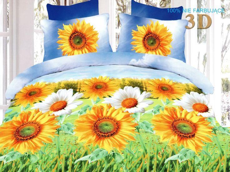 Pościel niebiesko zielona z mikrowłókna w żółto białe kwiatki