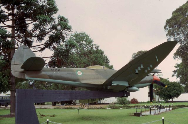 Spitfire on gateguard at New Sarum Airbase, Rhodesia, 1970's.