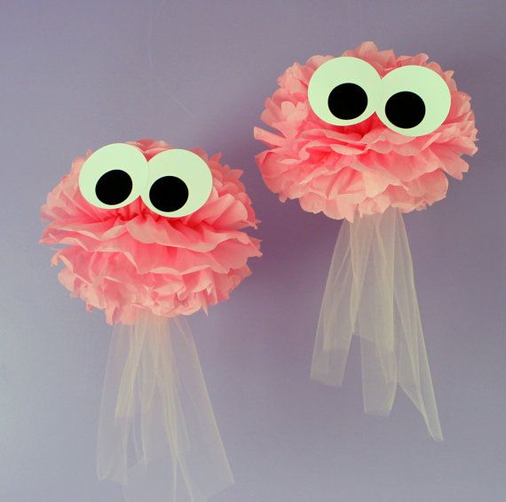 Jellyfish pom kit SET OF TWO under the sea by TheShowerPlanner
