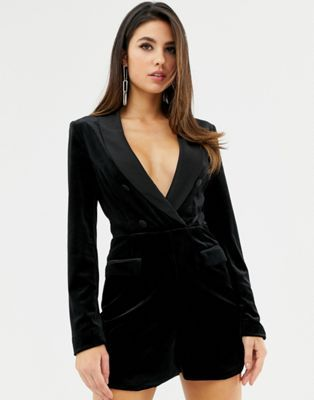 9a5387bcc3 Lavish Alice velvet tuxedo romper with contrast satin lapel in black ...