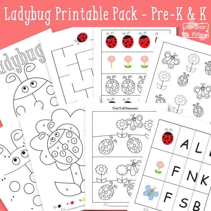 Ladybug Printables for Kids - Preschool Kindergarten
