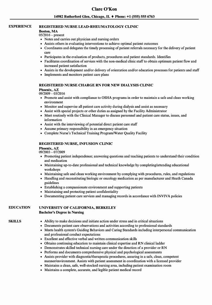 Nursing Clinical Experience Resume Inspirational Clinic