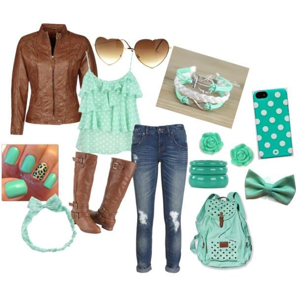I think the mint green looks so cute with the brown