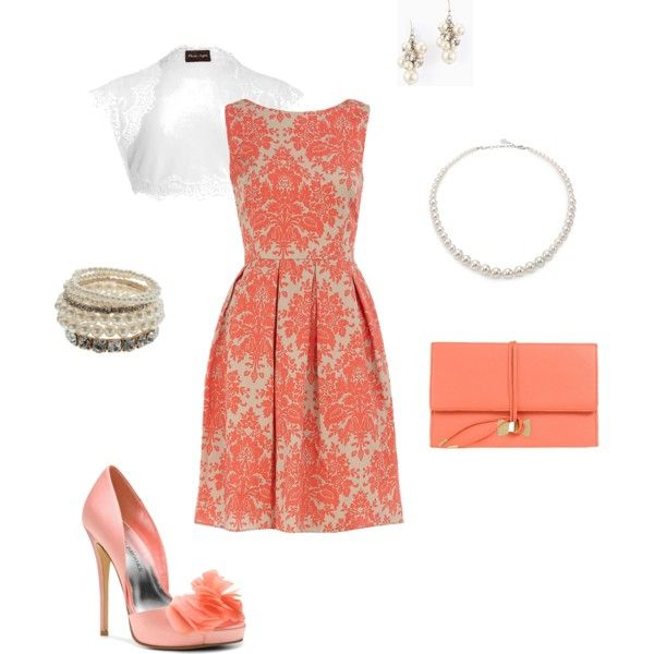 """""""Easter Sunday"""" by joy-shumaker on Polyvore Good for church, family gatherings, brunch. Love this coral damask dress."""