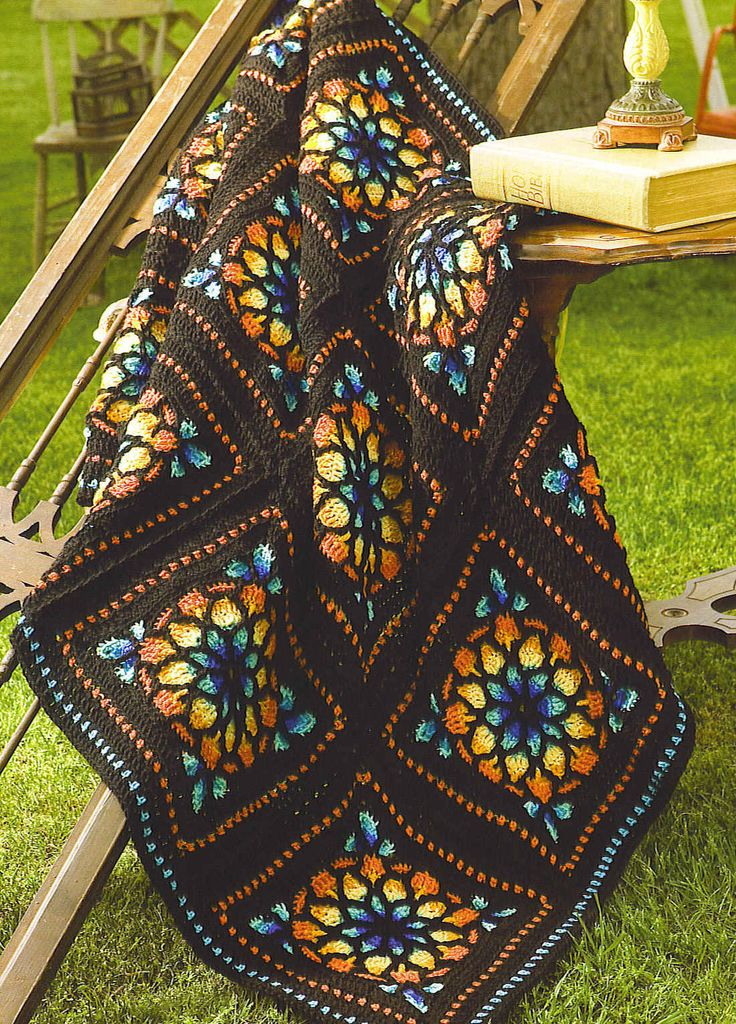 Stained Glass Window Crochet Squares Blanket. Free crochet pattern. More Great Looks Like This