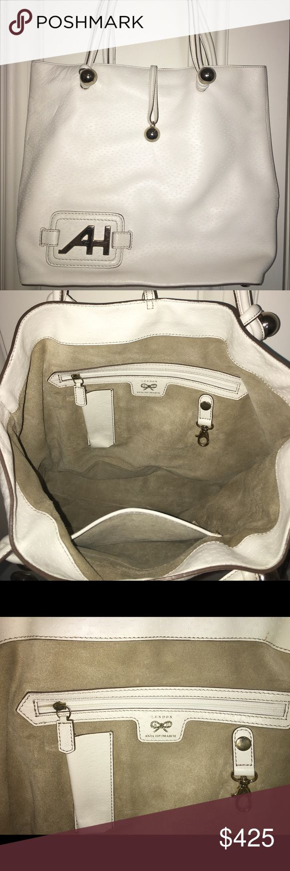Anya Hindmarch leather tote bag 100% authentic Anya Hindmarch tote bag, white leather, excellent condition Anya Hindmarch Bags Totes