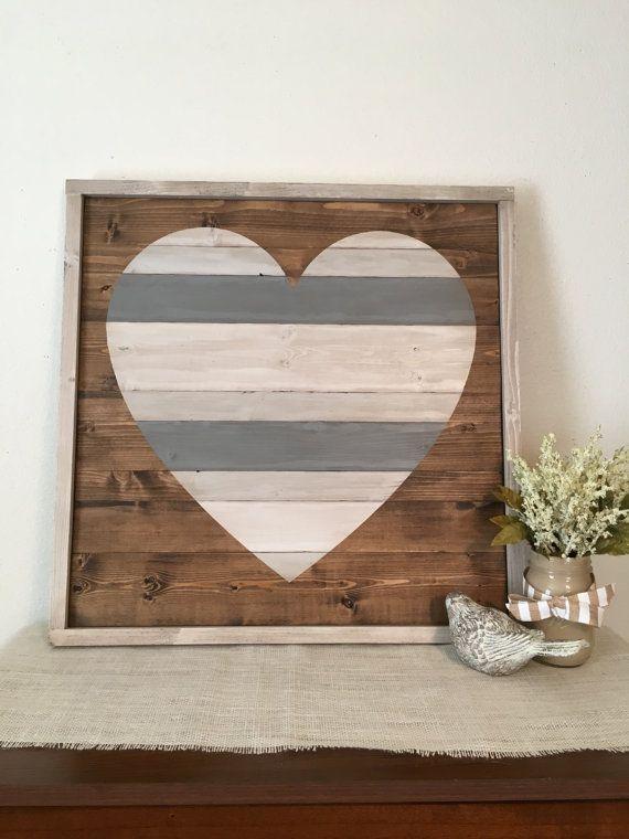 Rustieke Home Decor grote Pallet-hart hart door WhiteAspenStudio