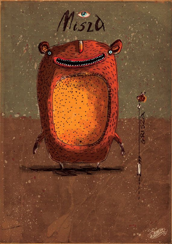 My original illustration reproduction / print *Misza* by RobertRomanowicz on Etsy