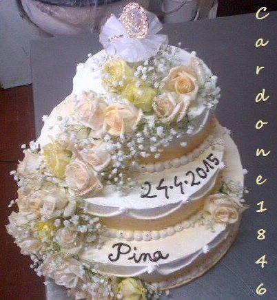 Fresh roses Wedding  cake Cardone 1846