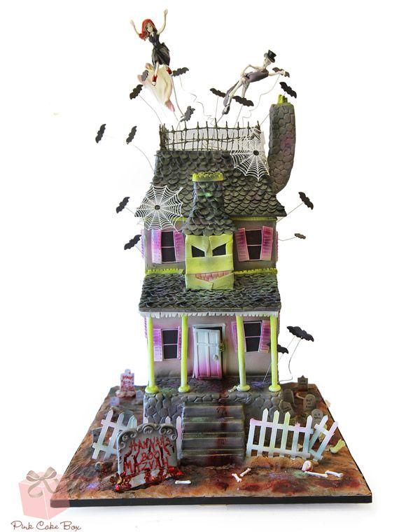 50th Birthday Haunted House Cake   http://blog.pinkcakebox.com/50th-birthday-haunted-house-cake-2010-11-01.htm